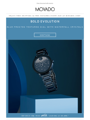 Movado - Shine On: Blue Dial with Waterfall Crystals
