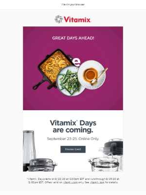 Vitamix - Big news! You won't want to miss this.