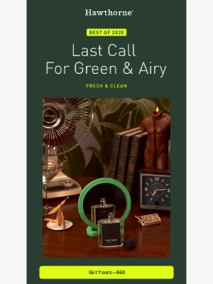 Hawthorne - Last call for our best-selling cologne of 2020