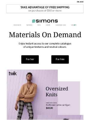 Simons Canada - Textures to take on today