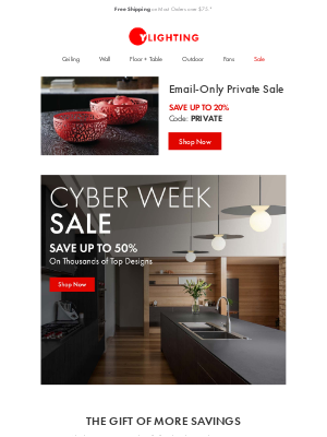 YLighting - STARTS NOW: Cyber Week + Private Sale.