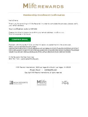 MGM Resorts - M life Rewards Membership Enrollment Confirmation