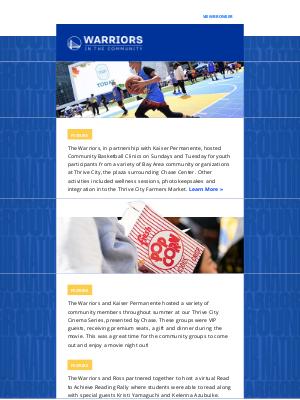 Golden State Warriors - Warriors In The Community: Summer Recap