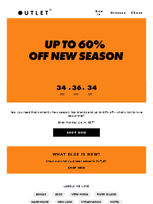 Up to 60% off new season (no, really!)