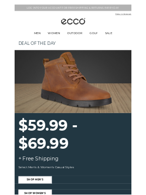 ECCO Shoes - $59.99 - $69.99 Select Casual Styles