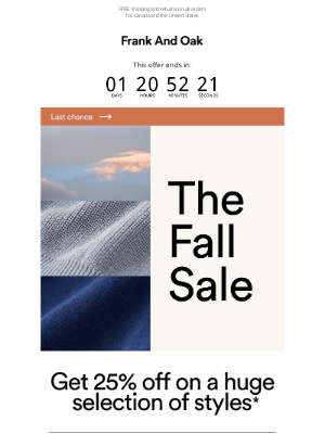 Frank and Oak - ⏰  Your coupon code is about to expire