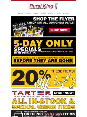 Rural King Supply - 5-Day Specials   20% Off Tarter, Boots & More!