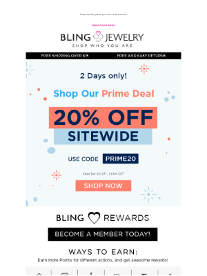 Bling Jewelry - 2 Days ONLY- Prime Deal! Get 20% off SITEWIDE! 🛍
