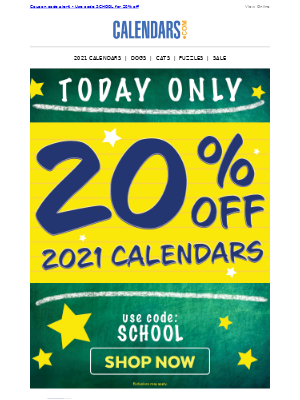 Just in time! 2021 are calendars 20% off! Hours left >>