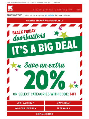 Kmart - Congrats, Mary 👍 Savings code: APPROVED 🎁 Black Friday Doorbusters start now