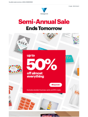 Vistaprint - ☰ Semi-Annual Sale ☰ Up to 50% off almost everything