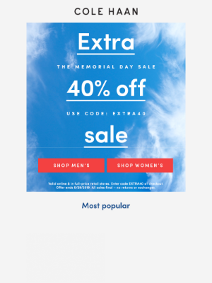Extra 40% off Memorial Day sale is on