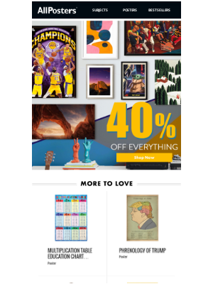 AllPosters - It's here!!: 40% Off Everything