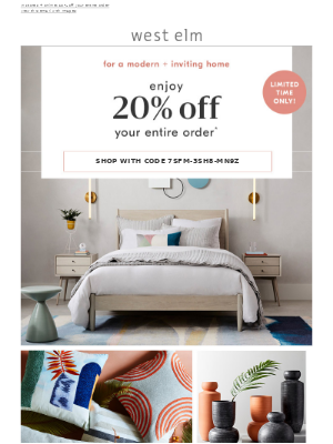 Knock, knock. Here's 20% off expertly-made furniture, decor + more!
