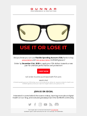 GUNNAR Optiks - brian, Still Have FSA Dollars?