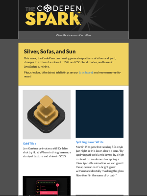 The CodePen Spark - Silver, Sofas, and Sun