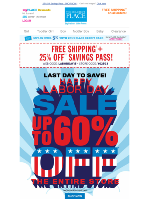 25% Off Savings Pass - SHOP NOW!   Can't see images? Click here. my PLACE R
