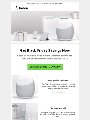 Belkin - Black Friday is Here | Save 25% Now