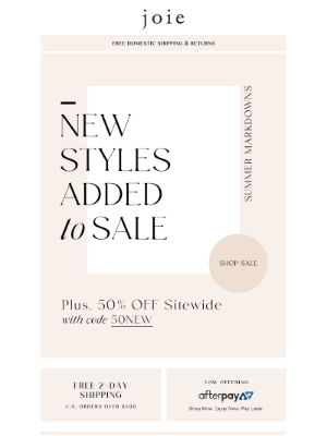 Summer Markdowns | New Styles Added to Sale