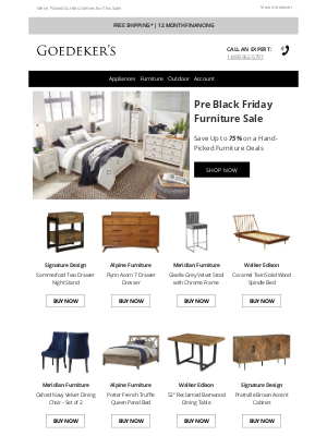 Goedeker's - Pre Black Friday Furniture Sale! Save Up to 75%!