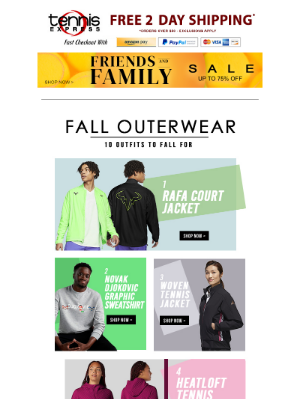 Tennis Express - Fall Outerwear - 10 Outfits to Fall for + Friends and Family Sale