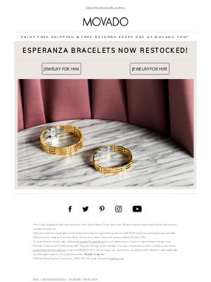 Movado - Back In Stock! Esperanza Bracelets for Him & Her