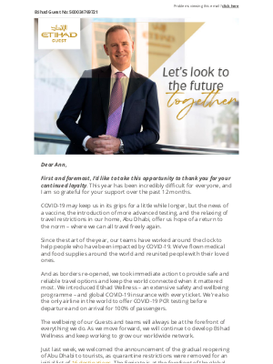 Etihad Airways - A message from Tony Douglas, Group CEO Etihad Aviation Group