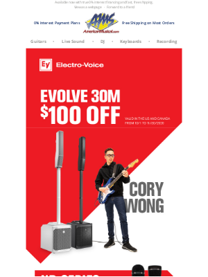 American Musical Supply - Get Up to $100 Off the Evolve 30M & More from Electro-Voice