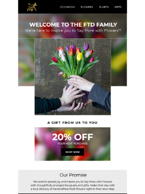 Welcome email from FTD flowers