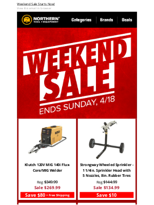 Northern Tool + Equipment - Weekend Deals Just Dropped>> 3 Days Only!