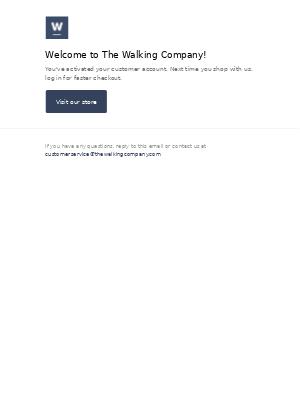The Walking Company - Customer account confirmation
