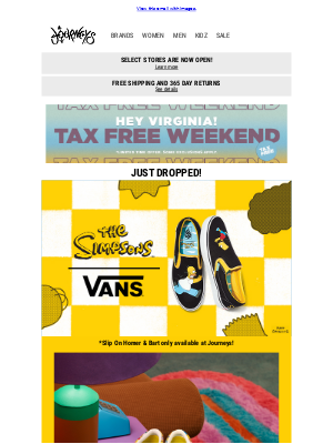Hey Virginia, Tax Free Weekend + Vans x The Simpsons
