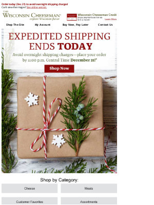 Wisconsin Cheeseman - Last Day for Expedited Shipping