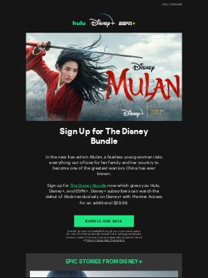 Hulu - Alan, Stream 'Mulan' Now with The Disney Bundle