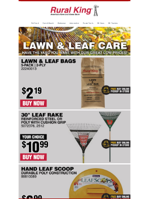 Rural King Supply - 🍂 Lowest Prices on Lawn & Leaf Care!