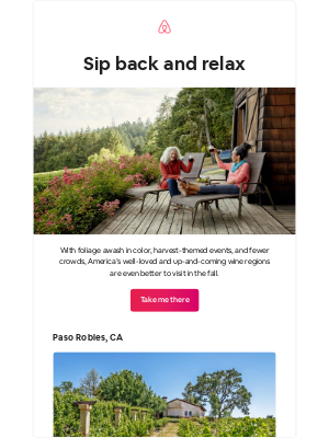 Airbnb - Fall for a wine country getaway
