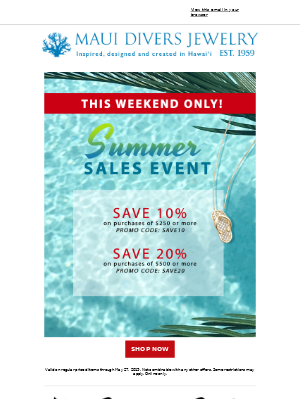 Our Summer Sales Event Starts Now!