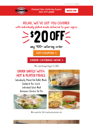 Get $20 Off A $100 Or More Catering Order