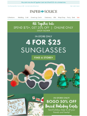 Paper Source - Shop 3 Huge Holiday Deals this Weekend!
