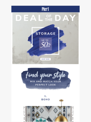 Pier 1 Imports - 50% off storage with our Deal of the Day 😱