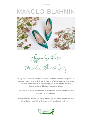 Manolo Blahnik - Proudly Supporting World Mental Health Day 2021