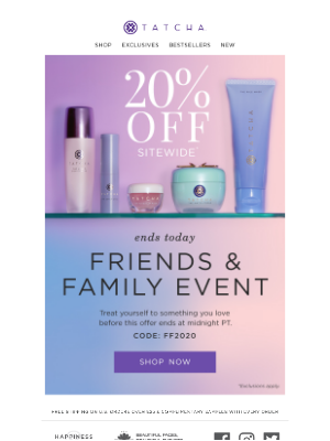 Tatcha - Ends today 🕚 Our Friends & Family Event