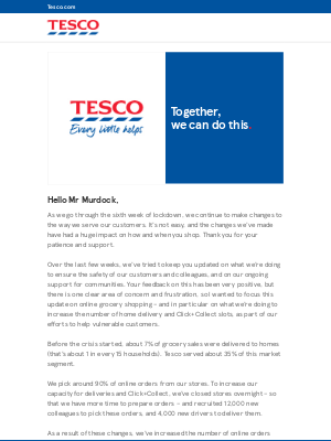 This week's update from Tesco CEO Dave Lewis