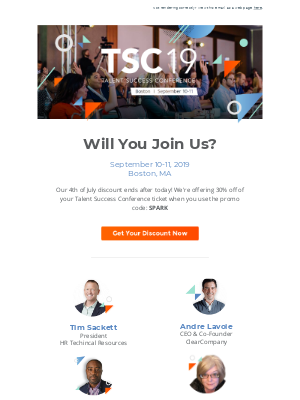 [Last Chance] Use Code SPARK for 30% Off Your TSC19 Ticket