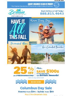Brittain Resorts & Hotels - Enjoy 25% Off and 2 Free Breakfasts Daily with our Have It All This Fall Sale!