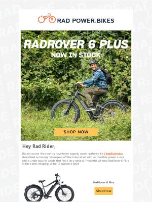 Rad Power Bikes - The RadRover 6 Plus ships within 3 days!