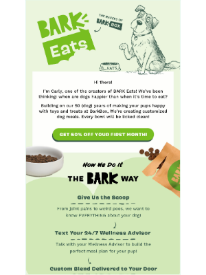 BarkBox - Introducing BARK Eats! Get 50% off your first month.
