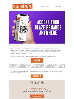 Blaze Pizza - Full access Rewards. 🔥It's magical.✨