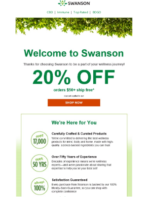 Swanson Health Products - Welcome! Here's 20% off