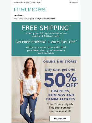 Tuesday treat: BOGO 50% off graphics, jeggings & denim jackets